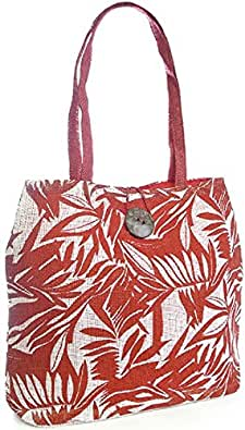 Octave - Sac cabas/sac de plage - fibre de papier/noix de coco - motif feuille - rouge