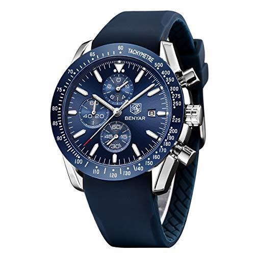Orologio cronografo per uomo braccialetto in silicone quadrante blu lusso...