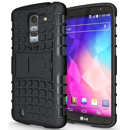 Heartly Flip Kick Stand Hard Dual Armor Hybrid Bumper Back Case Cover For LG G Pro 2 - Black  available at amazon for Rs.399