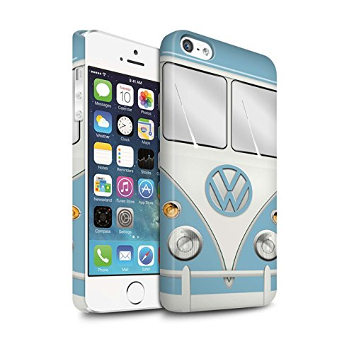 STUFF4 Matte Snap-On Hülle / Case für Apple iPhone 5/5S / Perlweiss Muster / Retro T1 Wohnmobil Bus Kollektion Fjord Blau