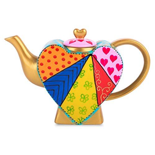 Artvigor teiere caffettiere caraffe per tè e caffè in porcellana ceramica a forma di cuore set da caffè tè per una persona colori misti oro giallo 850ml