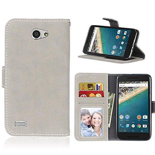 """LG Bello II Hülle,Retro Matte Leder Flip Case im Book-Style [Slim Fit] Brieftasche Handyhülle mit [Kartenfächer und Bargeld] für LG Bello II (LGX150) 5"""" Grau"""