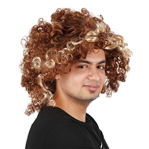 QIQI Karnevalsperücke Kurzes Lockiges Haar Flauschige Und Modische Perücken Für Männer Cosplay Party Hair Set