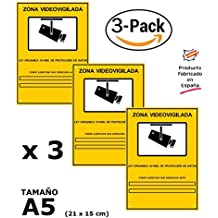 Pack o Lote de 3 Carteles Zona Videovigilada A5 interior/exterior, Carteles Disuasorios