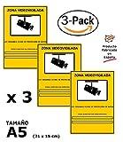 Pack o Lote de 3 Carteles Zona Videovigilada A5 interior/exterior, Carteles Disuasorios PVC expandido, Placa Disuasoria 21x15 cm, amarillo