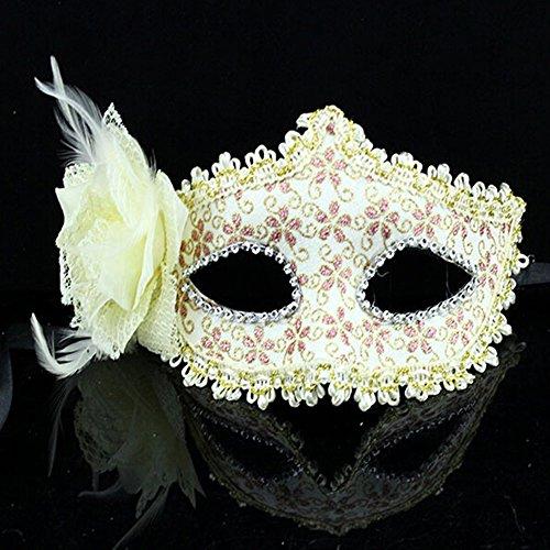 Rose Blumen Halloween Dance Party Princess Venedig Maske beige (Maschere Halloween)