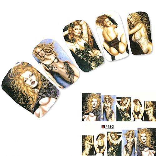 JUSTFOX - Tattoo Nail Art Erotik Modell Dessous Aufkleber Nagel Sticker - Modelle Erotik