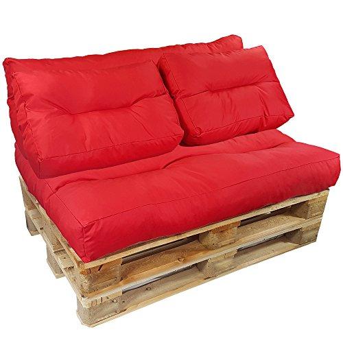 proheim Palettenkissen Lounge 4-teiliges Set 1 Sitzkissen + 3 Rückenkissen in Rot Sitzpolster für Europaletten Paletten-Sofa