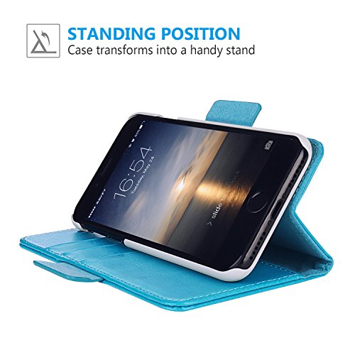 Custodia iPhone 7 plus, SAVFY 2 in 1 Flip Magnetica Custodia in pelle per iPhone 7 plus 5.5 pollice Protettiva Case Portafoglio Cover Supporto Stand con Porta Carte e PC Cover - Nero Blu