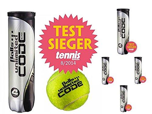 20 Tennisbälle Unlimited Black Code 5 X 4er Dosen Testsieger Tennismagazin 08/2014