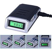 CkeyiN® Universal Cargador Rápido con 4 Ranura Independiente para Pila Recargable AA, AAA,Ni-MH,Ni-Cd Clase de eficiencia energética A++