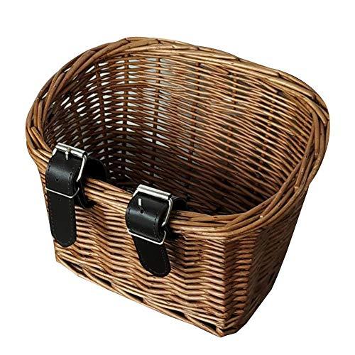 cypressen Großer Handgefertigter Weiden-Fahrradkorb Aus Weide, Traditioneller Retro-Stil, Fahrradkorb, Lederriemen Und Lenker Für Kinder Fahrrad