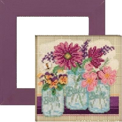 Perlen Kreuzstich Kit und Rahmen Bundle: Schnittblumen Kit und lila Iris Rahmen -