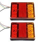 2er 8 LEDs 12V Rücklicht Bremsleuchten Heckleuchte Warnlichter Blinkleucht Tail-Licht Wasserdicht für SUV Auto LKW Anhänger Traktor von Discoball