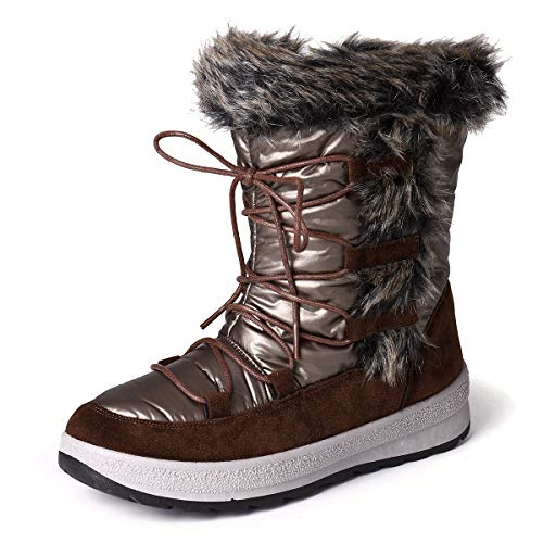 Camfosy Women Winter Snow Boots Thermal Fur Lined Warm Rain Short Booties Waterproof Lace Up Mid Calf Boots Outdoor Ankle Casual Walking Shoes Hiking Trekking Flat Sporty