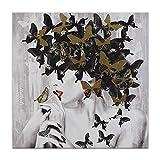 World Art TW60149 Ästhetischer Webstuhl aus Holz Lady Schmetterling Blumen Bild Acryl Gemälde auf Leinwand von Hand Dekoriert, Holz, 80x80x3.5 Cm