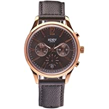 Henry London Unisex Finchley Quartz Watch with Grey Dial Chronograph Display and Grey Leather Strap (Certified Refurbished)