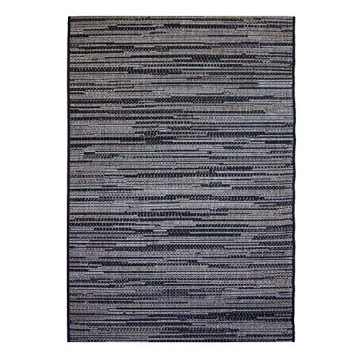 Outdoor-Teppich Flachgewebe Modern, Meliert, mit Streifen in Grau, Anthrazit, Schwarz für Außen/Innen Größe 200/290 cm