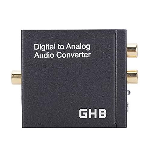 GHB Digital zu Analog Audio Konverter Toslink und Coaxial Audiowandier Mit Netzteil und Klinke Audio Konverter Wandler 3,5mm