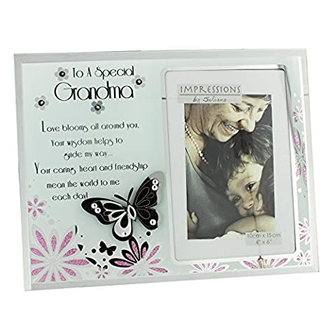 Grandma Gift - Beautiful Glass Sentiment Photo Frame With Butterfly