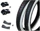 BISOMO Weißwand Reifen Set + Schlauch + Felgenband (2 1/4 x 16) für Piaggio Ciao und Hercules (R-13)