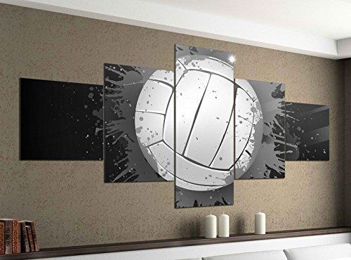 Leinwandbild 5 tlg. 200cmx100cm Volleyball rot blau abstrakt Sport schwarz weiß Bilder Druck auf Leinwand Bild Kunstdruck mehrteilig Holz 9YA2384, 5Tlg 200x100cm:5Tlg 200x100cm