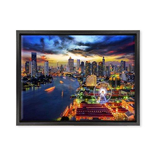 Bild auf Leinwand Canvas–Gerahmt–fertig zum Aufhängen–Bangkok–Thailand Dimensione: 30x40cm B - Colore Nero Moderno