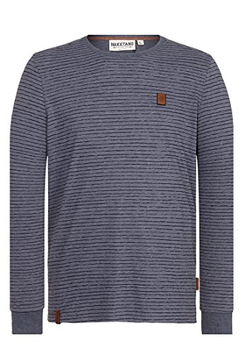 Naketano Male Sweatshirt Hosenpuper Langen V Dark Ash Melange, L (Streifen-polo-pullover)