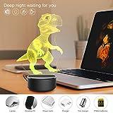LED-Nachtlicht mit 3D-Effekt, Dinosaurier-Motiv, Tischlampe, 7 Farben, 3D optische Illusionsichter.