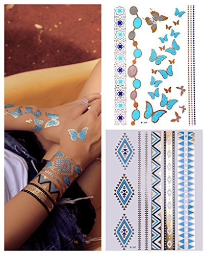 2 x Temporary Tattoos Gold Silber Türkis Flash Tattoo Hautschmuck BUTTERFLY Doppelset- LK Trend&Style (Butterfly Haut)