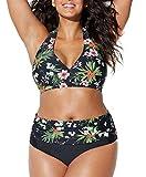 Bikini Grandi Sexy Donna Costumi da Bagno Plus Size Spiaggia Boemo Fionda Scoll a V Due Pezzi Swimwear Estate-Très Chic Mailanda (2XL, Nero)