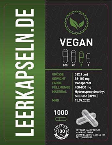 1000 Leerkapseln | Größe 0 | vegan HPMC | verbundene Kapselhälften – ganze leere Kapseln | transparente Kapseln | vegetarisch Halal & Kocher zertifiziert | (1000)