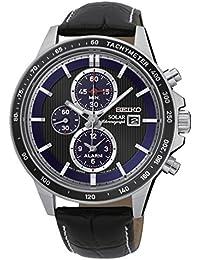 Seiko Solar Genuine Leather Chronograph Black Dial Men's Watch- [SSC437P1]