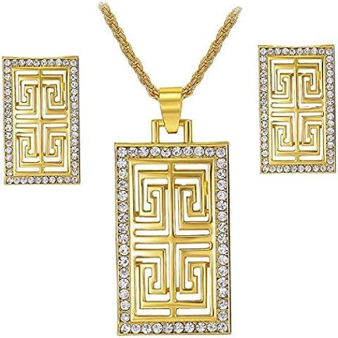 Donna strass placcato in oro 18K collana con ciondolo e orecchini set (Maglia Degli Orecchini In Oro Orecchini)