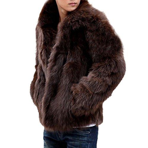 YYF Herren Winterjacke Pelzmantel Langmantel Faux Fur Jacke Braun