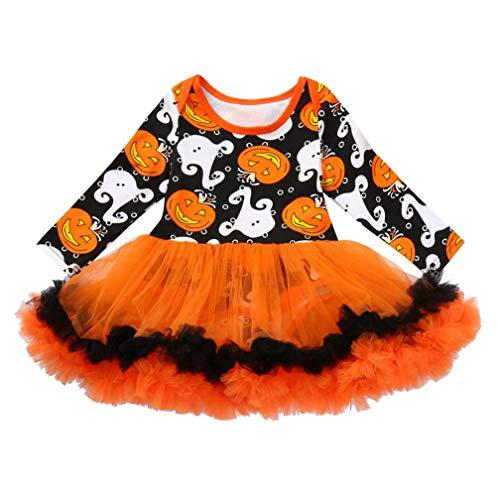QinMM Neugeborenen Baby Mädchen Kleid Strampler Overall Kleider Halloween Outfits Kleidung Sets Orange Für 6 Monate-24 Monate (18M, Orange) (Overall Orange Halloween)
