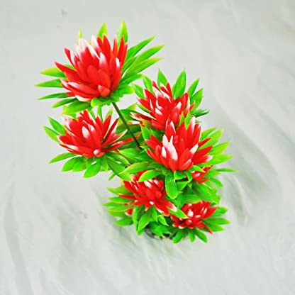 """SODIAL(R) Red Simulated Water Lily Lotus Plastic Plant Ornament 10"""" for Fish Tank Aquarium 4"""