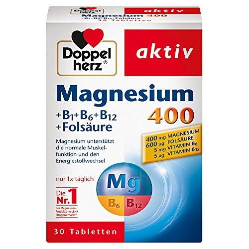 Doppelherz Magnesium 400 + B1 + B6 + B12 + Folsäure - Magnesium für die Muskeln, das Nervensystem und den Energiestoffwechsel - 1 x 30 Tabletten -