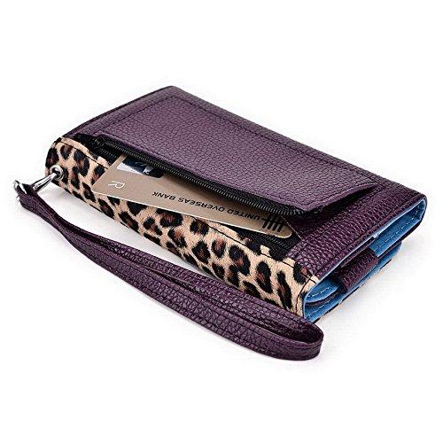 Kroo Pochette Téléphone universel Femme Portefeuille en cuir PU avec sangle poignet pour Oppo R3/R1S Bleu - bleu Multicolore - Violet/motif léopard