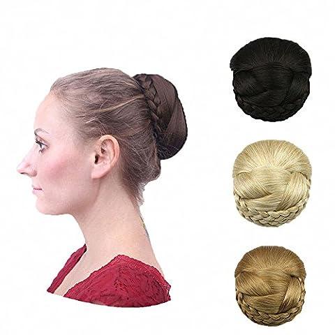 Prettywit Chignon de cheveux raides Postiche Plateau Queue de cheval Extensions Donut Cheveux Chignon Mariage tresses pièce Perruque cheveux décontracté Nœud Plat Chignon de cheveux Easy Stretch Accessoires Cheveux pour femme (Blond cendré clair et blond décoloré 1003)