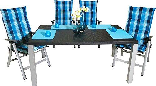 13teiliges Aluminium-Gartenmöbel-Set 4 Klappsessel Tisch 4 Auflagen 4 Tischsets
