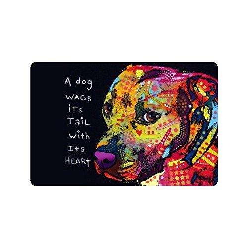 Nicole's Doormats 59,9cm (L) X 39,9cm (W) Ölgemälde Pit Bull Hund, Einem Hunde Wags Schwanz mit Herz-/Outdoor Fußmatte Fußmatte