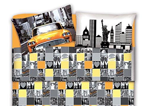 Completo lenzuola in 100% cotone fantasia new york 1 piazza e mezza new york
