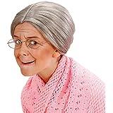 Oma Perücke mit Dutt Großmutter Haarperücke Kinder grau Alte Frau Haare Strenge Lehrerin Damenperücke Grandma Kinderperücke Granny Faschingsperücke Kinderfasching
