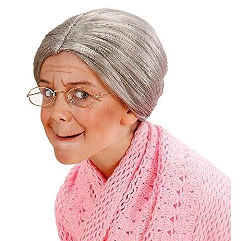 Perruque Mamie - Perruque mamie avec chignon perruque grand-mère enfant