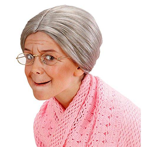 Peluca de abuelita con moño postizo pelo mujer mayor profesor anciana niños carnaval