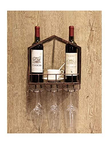 Wandmontiertes Weinregal und Glashalter, Vintage-Nostalgie-Weinregal aus massivem Holz und Schmiedeeisen, Dekorationszubehör für Heim- und Küchenbar, mehrfarbig, optional in mehreren Ausführungen erhä