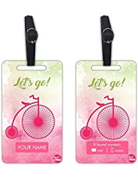 Personalized Designer Luggage Travel Baggage Tags From Nutcase - SET OF 2 TAGS - Let's Go
