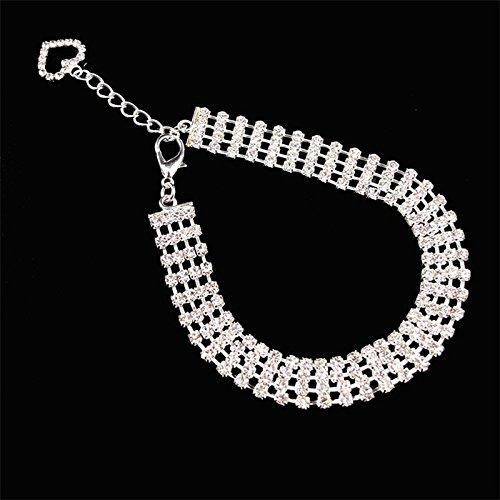 yiding niedliches Design Halskette für Hund Katze STILVOLL Hunde Strass halsband (weiß), M (Hund Zaun Schock)