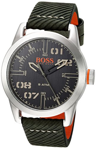 Movado Group Inc - dba Hugo Boss Men's 'OSLO' Quartz Stainless Steel and Leather Casual Watch, Color:Green (Model: 1513415)